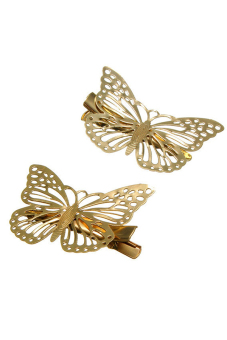 Amango Shiny Hair Pins Vintage Gold Hollow Butterfly Gold