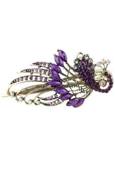 Amango Women Hair Clips Vintage Rhinestone Peacock (Purple) - picture 2