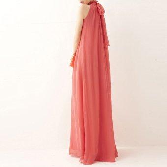 Amart Bohemian Style Summer Women Chiffon Long Dresses Halter Neck Sleeveless - Intl - 2