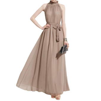 Amart Bohemian Style Summer Women Chiffon Long Dresses Halter Neck Sleeveless - Intl