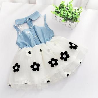 Amart Cute Denim Top Sun Flower Princess Tutu Dresses Baby Girls Toddler Clothes