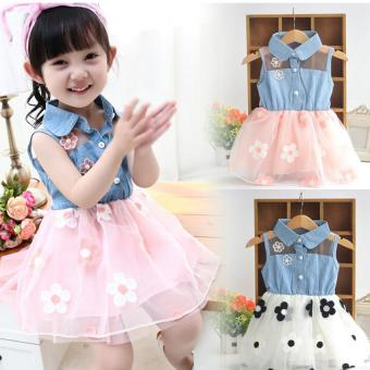 Amart Cute Denim Top Sun Flower Princess Tutu Dresses Baby GirlsToddler Clothes