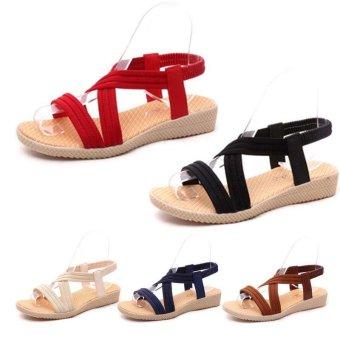 Amart Fashion Women Sandals Crossed Comfortable Beach Flat Shoes(Drown) - intl - 3