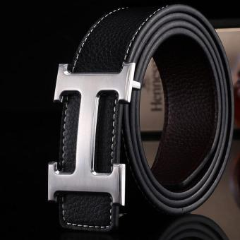 Amart Genuine PU Leather H Smooth Buckle Belt for Men(Black) - intl
