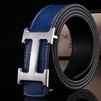 Amart Genuine PU Leather H Smooth Buckle Belt for Men(Blue) - intl