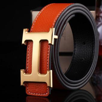Amart Genuine PU Leather H Smooth Buckle Belt for Men(Orange) -intl