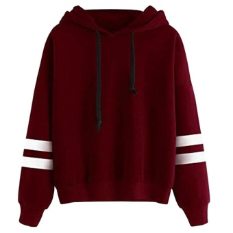 Amart Korean Simple Fashion Women Sweatshirt With Hat Drawstring Long Sleeve Striped Splicing Hoodies Pullover(Red) - intl