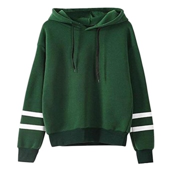 Amart Korean Simple Fashion Women Sweatshirt With Hat DrawstringLong Sleeve Striped Splicing Hoodies Pullover(Green) - intl