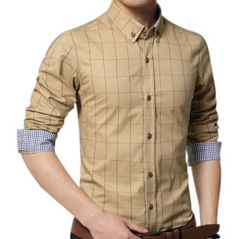 Amart Men's Long Sleeve Shirt Plaid Shirts Cotton Top Clothing(Khaki)