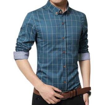 Amart Men's Long Sleeve Shirt Plaid Shirts Cotton Top Clothing(Lake Blue)