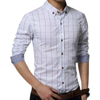 Amart Men's Long Sleeve Shirt Plaid Shirts Cotton Top Clothing(White)