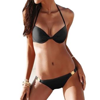 Amart Sexy Women Swimwear Push Up Padded Beach Bikini Set (Black) - intl
