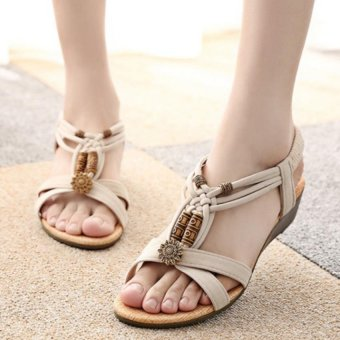 Amart Summer Sandals Women Beaded Sandals Bohemia flat Wedge Students Shoes