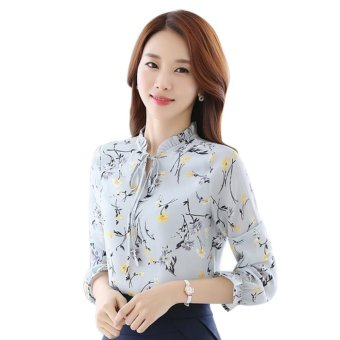 Amart Women Chiffon Casual Tops Floral Printed Blouse Loose Shirt Long Sleeve Elegant Shirts Tops - intl