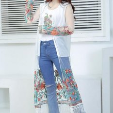 Amart Women Prevent Bask In Clothes Shirts Long Cardigan Vintage Boho Floral Tassel