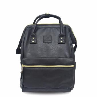 Anello PU Square Shaped Backpack Leather - Black