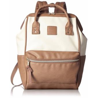Anello PU Square Shaped Backpack Leather - Camel Beige White
