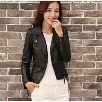 AngelCityMall Women PU Leather Coat Motor Jacket Short Coat StandCollar Slim S-3XL (Black) - intl