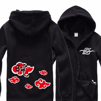 Anime Naruto Akatsuki Red Cloud Cosplay Hoodies Jacket Coat Costume Cosplay Collection Casual Sweatshirt(Black) - intl