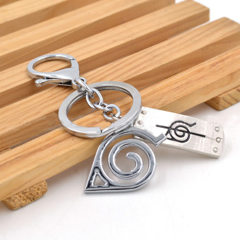 Anime Naruto Keychain Konoha Double Metal Pendants Key Ring - intl