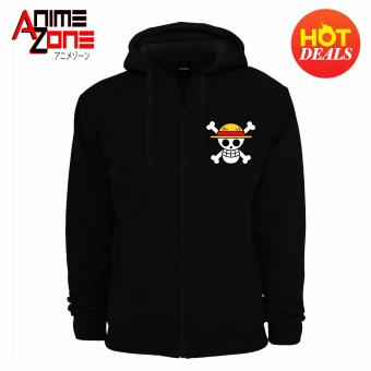 ANIME ZONE ONE PIECE Anime Straw Hat Pirates Unisex Zip-Up Outdoor Hoodie Jacket (Black)