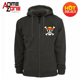 ANIME ZONE ONE PIECE Anime Straw Hat Pirates Unisex Zip-Up Outdoor Hoodie Jacket (Dark Grey)