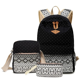 ANNS Fashion Canvas Women Backpack School bag For Teenagers GirlsBack Pack School bags Bagpack Mochila ( 3 Pieces Bag Set ) (Black)- intl Price Philippines