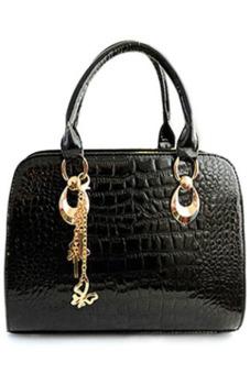 Ansee Crocodile Print and Metal Pendant Design Tote Bag (Black)