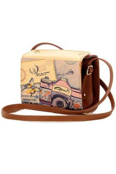 Ansee PU Leather Camera Print Design Crossbody Bag Brown