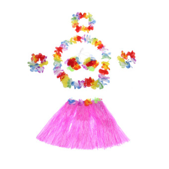 Anself New Child Hawaiian Dance Kit Hawaii Hula-hula Hula Skirt 6PCS Set Grass Skirts Including Flower Lei + Neck Ring + 2 Lei Bracelets + Bra Garland - intl