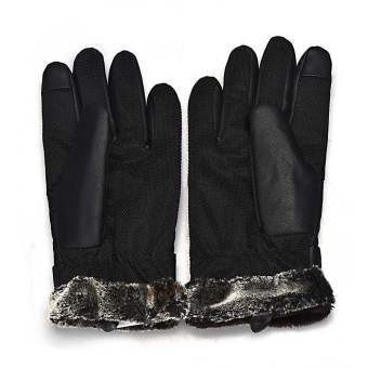 Anti Slip Men Thermal Winter Sports Leather Touch Screen Gloves Black - 2