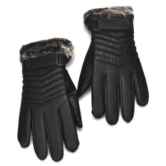 Anti Slip Men Thermal Winter Sports Leather Touch Screen Gloves Black - 3