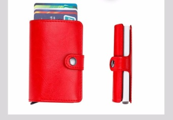 Anti-theft Men Leather Wallet With Mini RFID Wallets Automatic Business Blocking Travel Card Holder Pop Up Case Credit Card Protector Case Red - intl - 2