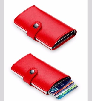 Anti-theft Men Leather Wallet With Mini RFID Wallets Automatic Business Blocking Travel Card Holder Pop Up Case Credit Card Protector Case Red - intl - 3