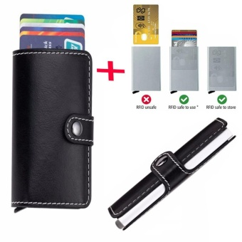 Anti-theft Mini RFID Credit Card Case Wallet Automatic Business Blocking Travel Card Holder Pop Up Case Credit Card Protector Case Black - intl