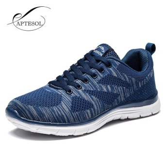 APTESOL Running Shoes For Mens Outdoor Sport Brand Air Mesh Breathable Sneakers Super Light Damping Soft Lace Up Shoes(Blue)
