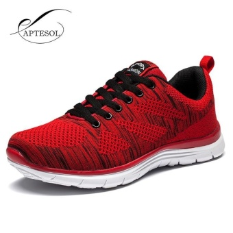 APTESOL Running Shoes For Mens Outdoor Sport Brand Air MeshBreathable Sneakers Super Light Damping Soft Lace Up Shoes(Red)