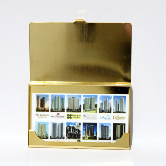 Armani Exchange Thin Aluminum Card Holder (Gold) - 2