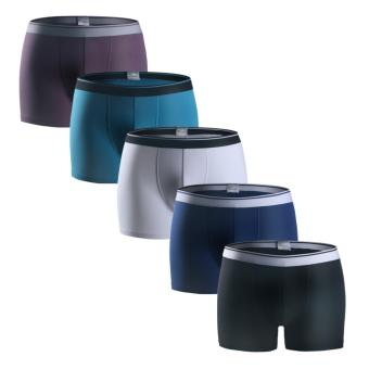 ARNO 5-Pack Men's Boxer Briefs Cotton Underwear Classic Solid Boxer - intl