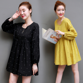 Art Linen plain round neck Print skirt dress (Yellow)