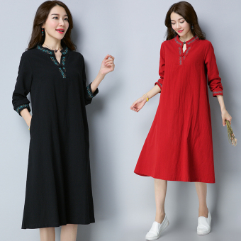 Art Linen spring New style dress (Wine red color)