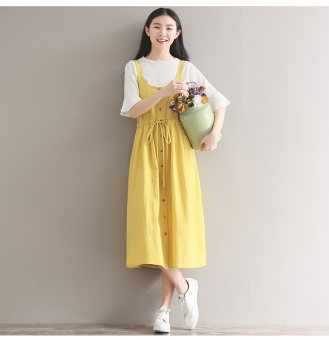 Artistic cotton linen solid color drawstring closure Dungaree dress