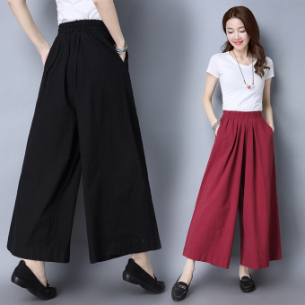 Artistic solid color elastic waist women's pants cotton linen pantyhose pants (Black)