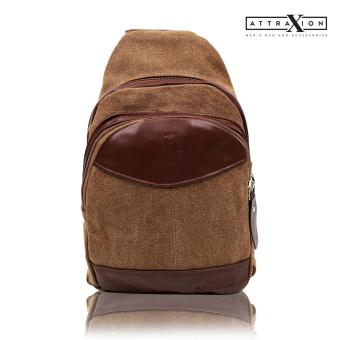 Attraxion Dickens Canvas Crossbody Bag for Men (Brown)