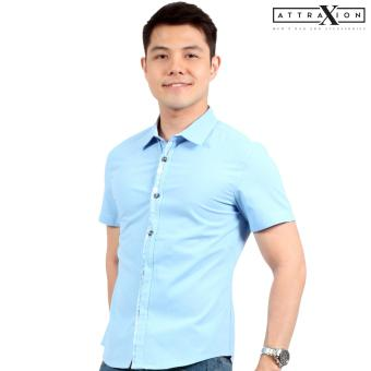 Attraxion Laurence Floral Placket Polo for Men (Light Blue)