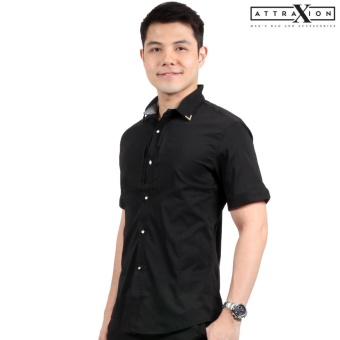 Attraxion Malcolm Plain Polo for Men (Black)