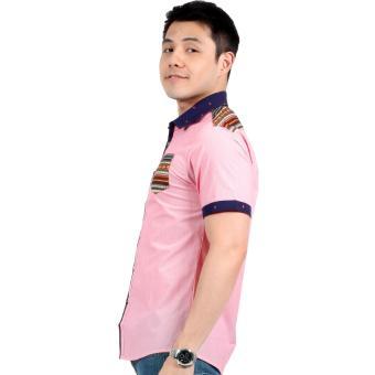 Attraxion Norman Bohemian Stripe Polo for Men (Pink) - 2