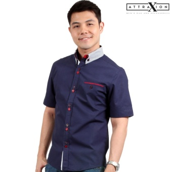 Attraxion Samuel Striped Collar Polo for Men (Navy Blue)