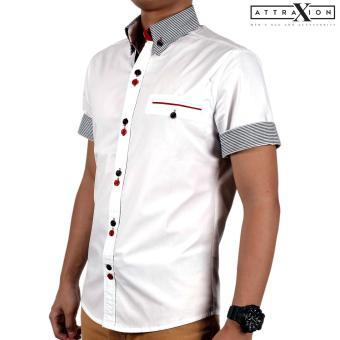 Attraxion Samuel Striped Collar Polo for Men (White)