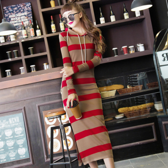 Autumn and Winter black and white Slim fit slimming long-sleeved casual dress Dress (Red)